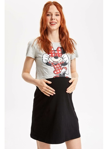 DeFacto Mickey & Minnie Lisanslı Hamile Elbisesi Siyah